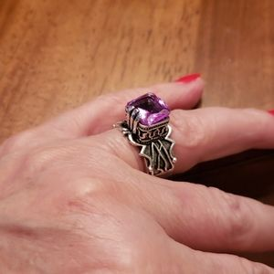 India sterling silver & pink stone - 8 1/2
